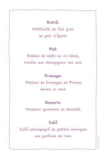 Menu de baptême Libellule photo prune - Page 2