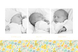 Faire-part de naissance Mille fleurs triplés (3 photos) orange
