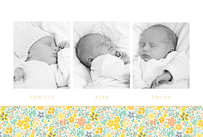 Faire-part de naissance Mille fleurs triplés (3 photos) orange finition