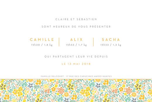 Faire-part de naissance Mille fleurs triplés (3 photos) orange - Page 2