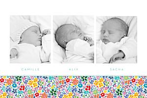 Faire-part de naissance rouge mille fleurs triplés (3 photos) jaune
