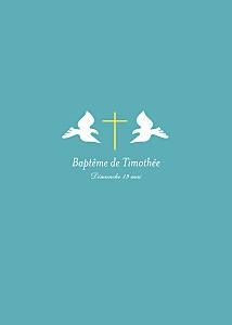 Livret de messe tous genres croix & colombes turquoise