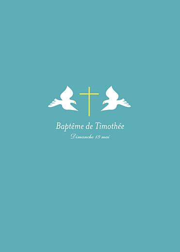 Livret de messe Croix & colombes turquoise