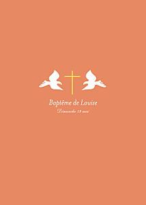 Livret de messe Croix & colombes orange