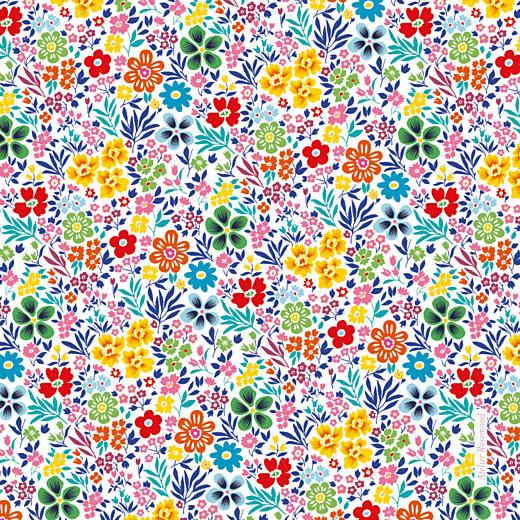 Carte de remerciement Mille fleurs (carré) jaune & rouge - Page 2