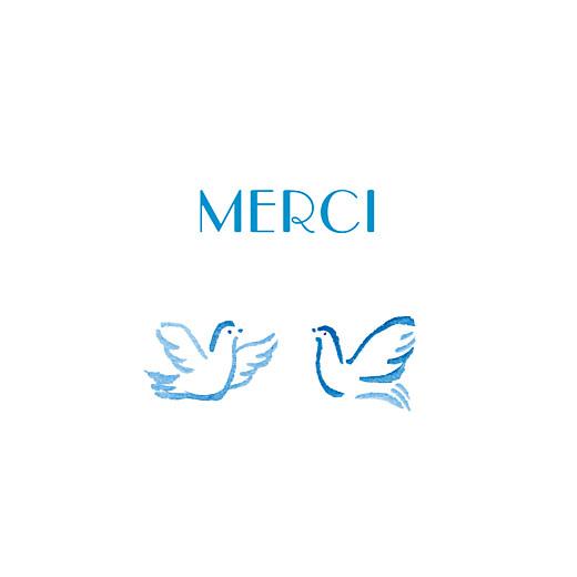 Carte de remerciement Merci colombes bleu