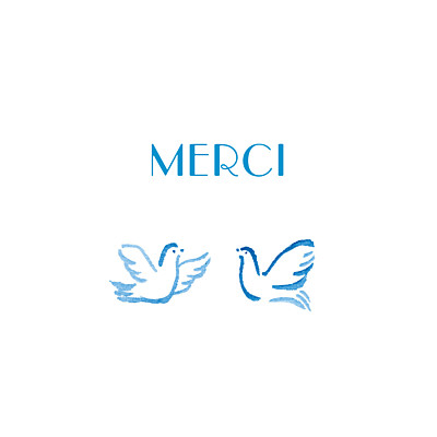 Carte de remerciement Merci colombes bleu finition