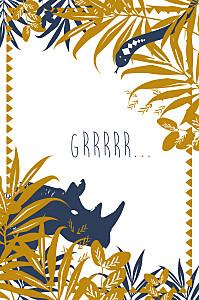 Carte d'anniversaire marron jungle bleu & marron