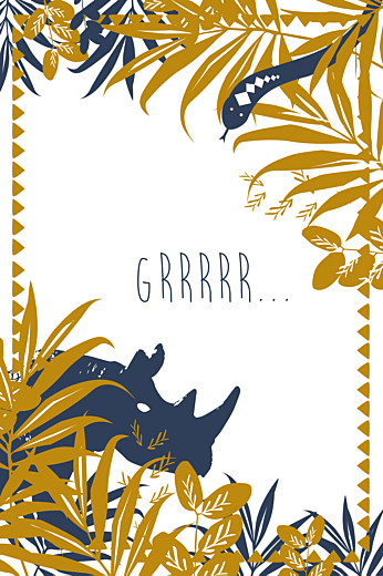 Carte d'anniversaire Jungle bleu & marron - Page 1