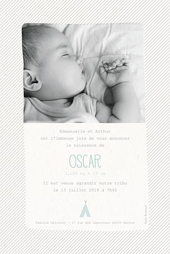 Faire-part de naissance Tipis photo beige vert - Page 2