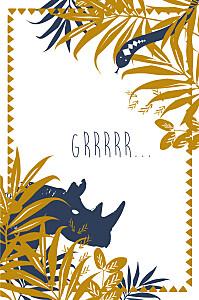 Carte d'anniversaire bleu jungle photo bleu & marron