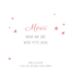 Carte de remerciement Petit ruban étoilé corail