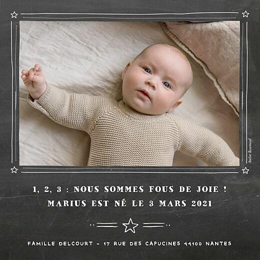 Faire-part de naissance Ardoise photo noir - Page 2