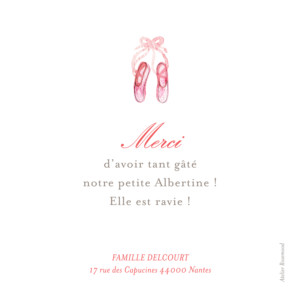 Carte de remerciement Merci pirouette photo rose