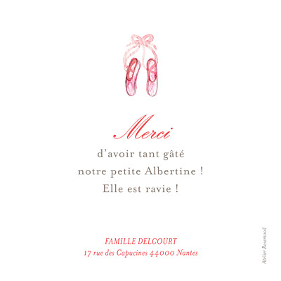 Carte de remerciement Merci pirouette photo rose finition