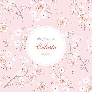 Faire-part de baptême mr & mrs clynk  cerisiers en fleurs rose