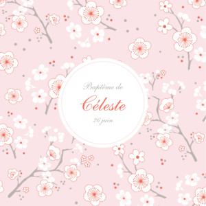 Faire-part de baptême Cerisiers en fleurs rose