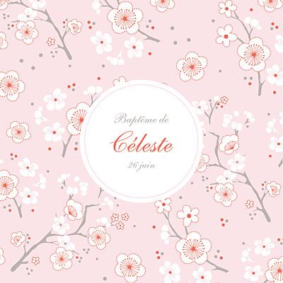 Faire-part de baptême Cerisiers en fleurs rose finition
