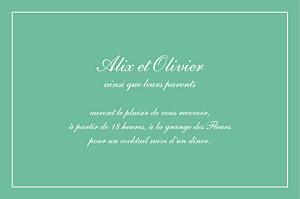 Carton d'invitation mariage avec photo grand chic liseré vert