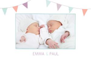 Faire-part de naissance Fanions jumeaux 3 photos turquoise violet