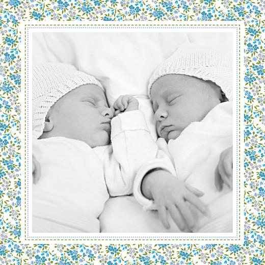 Faire-part de naissance Petit liberty jumeaux bleu