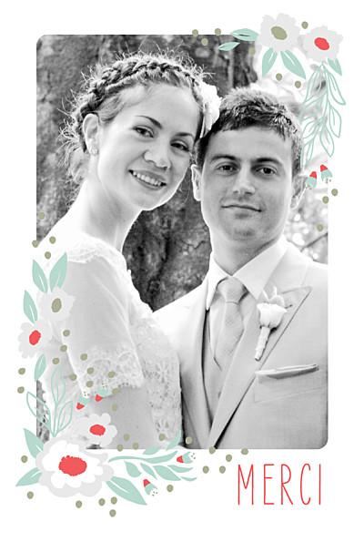 Carte de remerciement mariage Eden bleu nuit finition
