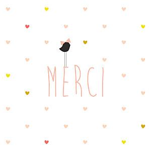 Carte de remerciement coeurs petit lovely girl photo blanc