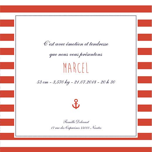 Faire-part de naissance Matelot photo (4 pages) bleu & rouge - Page 3