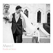 Carte de remerciement mariage Petit moderne (triptyque) blanc page 1
