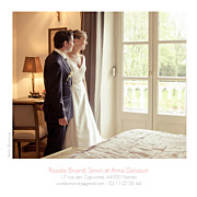 Carte de remerciement mariage Petit moderne (triptyque) blanc page 3