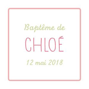 Etiquette de baptême Folk rose vert