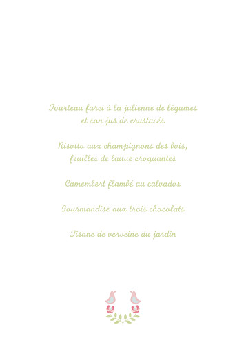 Menu de baptême Folk rose vert - Page 3