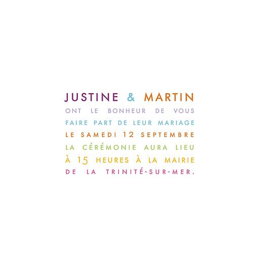 Faire-part de mariage Justifié (triptyque) blanc