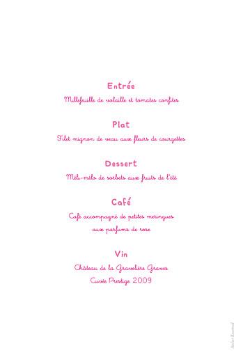 Menu de baptême Libellule rose - Page 2