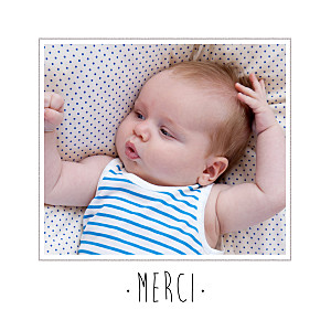 Carte de remerciement Merci big dots photo noir