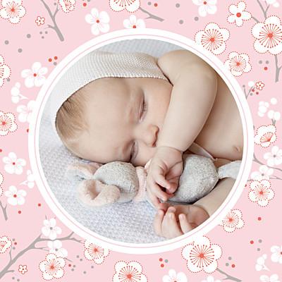 Carte de remerciement Cerisiers en fleurs photo rose finition