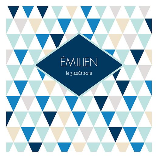 Faire-part de naissance Triangles photo carré bleu foncé