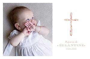 Carte de remerciement Merci croix liberty rose