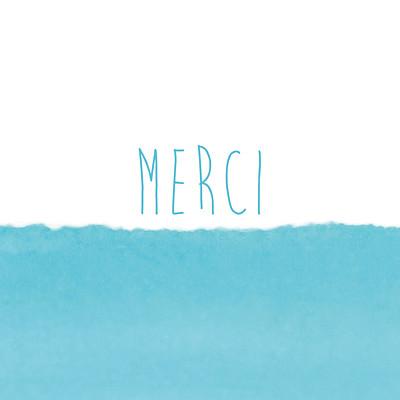 Carte de remerciement Petit watercolour bleu finition