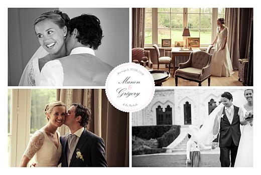 Carte de remerciement mariage Gourmand raffiné 4 photos rose