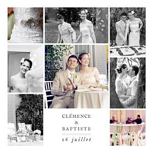 Carte de remerciement mariage classique grand souvenir 8 photos blanc