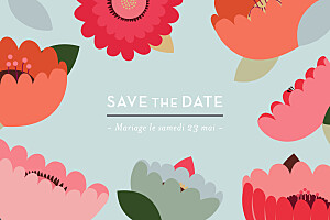 Save the date marguerite courtieu jardin bohème bleu