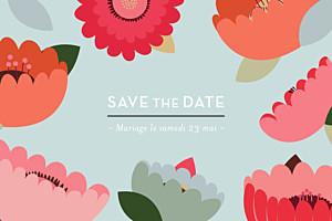 Save the Date Jardin bohème bleu
