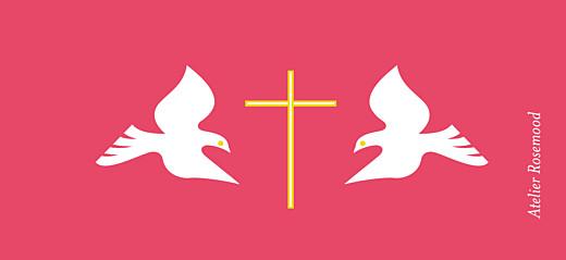 Etiquette de baptême Croix & colombes rose