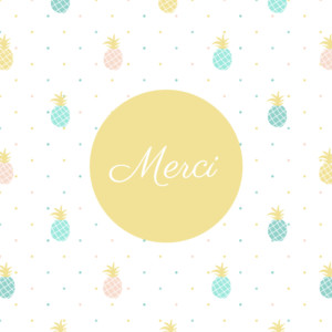 Carte de remerciement Petit ananas photo bleu & rose