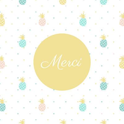 Carte de remerciement Petit ananas photo bleu & rose finition