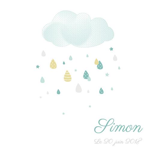 Faire-part de naissance Tombe la pluie (triptyque) blanc & vert