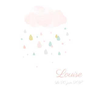 Faire-part de naissance Tombe la pluie (triptyque) blanc & rose