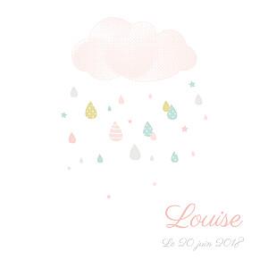 Faire-part de naissance pois tombe la pluie (triptyque) blanc & rose