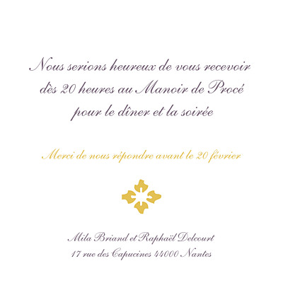 Carton d'invitation mariage On dirait le sud... jaune finition